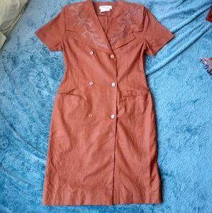 Jennifer Eden Dresses - 80's VINTAGE Brow Linen Button Front Busines Dress